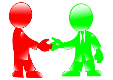 merger: Vector drawing handshake. Colored figures of people on a white background