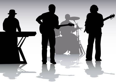 drawing musical group on stage. Silhouettes on white background Vector