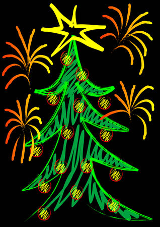 drawing of a Christmas tree with toys Stock Vector - 5877742
