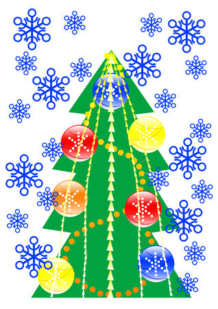 drawing of a Christmas tree with color toys Stock Vector - 5877740