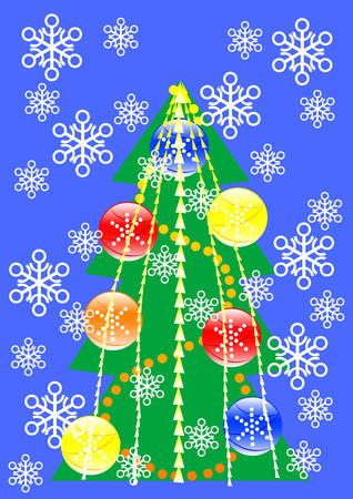 drawing of a green Christmas tree with color toys Stock Vector - 5877741
