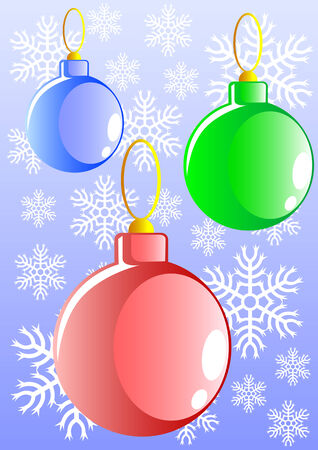 Vector image of Christmas tree ornaments. Balls on the background of snow Stock Vector - 5922649