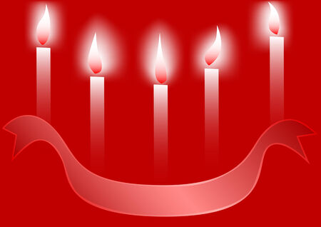 Vector drawing of burning candles and decorative ribbon Stock Vector - 5951414