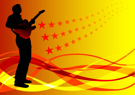 drawing rights with the guitar on the background of colorful waves Vector