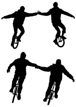circus bike: Dibujo de atletas en bicicleta con una rueda vectorial Vectores