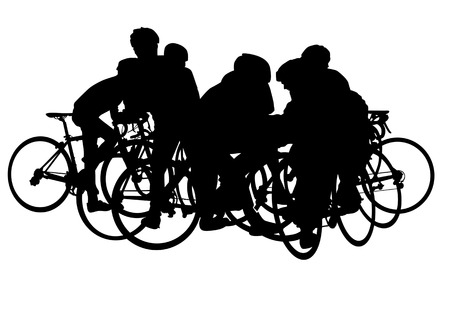 Vector image of cyclists on vacation. Silhouettes on white background Vector