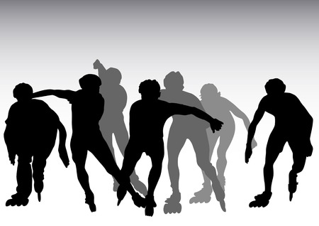 korcsolya: Vector drawing athletes on roller skates. Sporting events