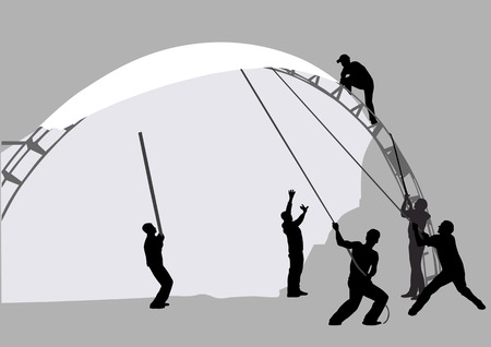Vector drawing of a group of workers. Silhouetted against the building Vector