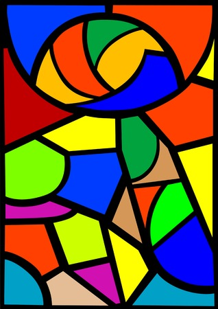 Vector drawing stained-glass window. Abstract drawing Vector