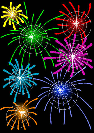 Vector drawing fireworks in the night sky Stock Vector - 6101105