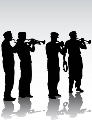 Vector drawing musicians with trumpets. Silhouettes on white background Vector