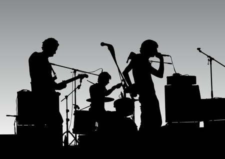 Vector drawing musical group in concert on stage Stock Vector - 6101092