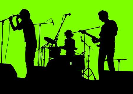 guitarristas: Dibujo de grupo musical en concierto en el escenario vectorial