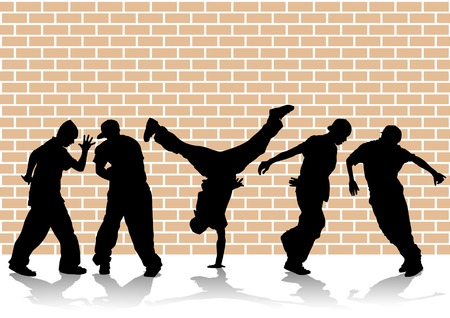 hip hop: Vector image of hip hop dancers. Silhouettes on the background of wall Illustration