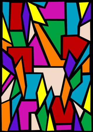 stained: Vector drawing abstract stained-glass window