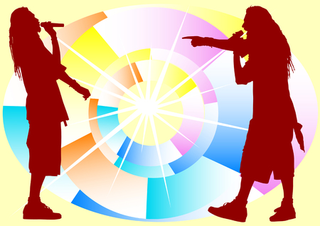 Vector drawing on youth fashion and music on abstract backrground Stock Vector - 6101103