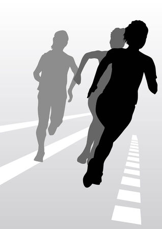 Vector drawing running athletes Vector