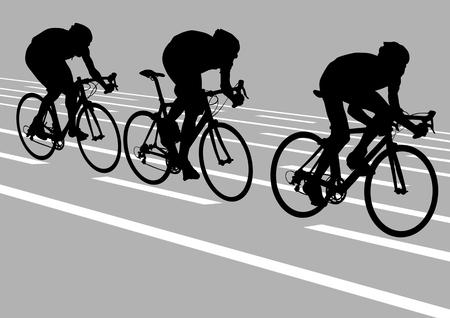 razas de personas: Ciclistas de dibujo vectorial durante la conducci�n