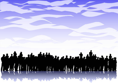 Vector image large crowd ina background of the sky with clouds