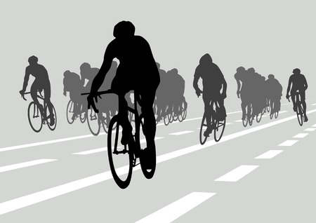 Vector drawing silhouettes cyclists in competition Vector