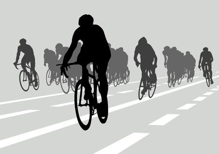Dessin vectoriel silhouettes cyclistes en concurrence