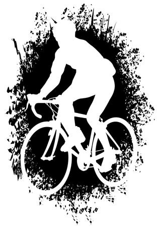 Dibujo de ciclistas de siluetas en competencia vectorial