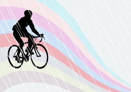 Vector tekening silhouetten fietsers in competitie