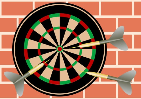 Vector drawing objects for a game of darts on a brick wall Vector
