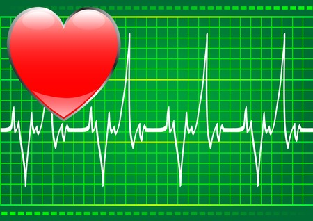 drawing on the theme of Cardiology. Heart and pulse Stock Vector - 6221702