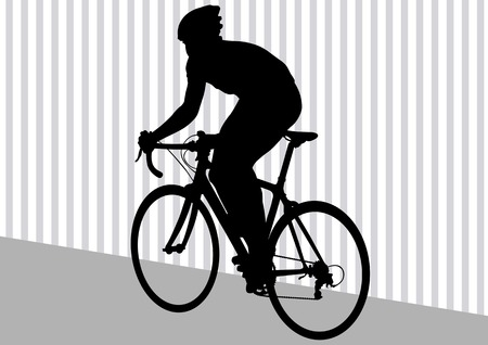 Vector drawing silhouette of a cyclist in motion