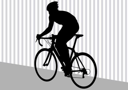 Vector tekening silhouet van een fietser in beweging