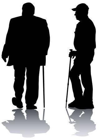two elderly men. Silhouettes on white background Vector