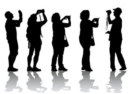 paparazzi: drawing people with cameras. Silhouettes on white background Illustration