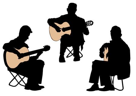 country music: disegno di un uomo con una chitarra acustica Vettoriali