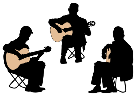 playing folk: drawing of a man with an acoustic guitar Illustration