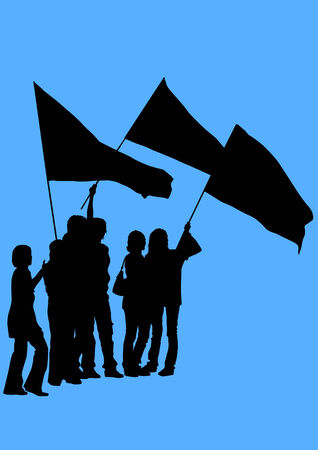 demonstrator:  drawing demonstrator. The crowd with flags Illustration
