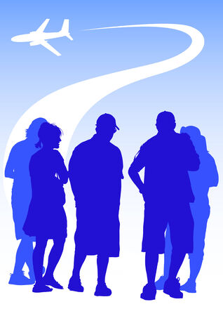drawing groups of tourists on the background of a flying airplane Vector