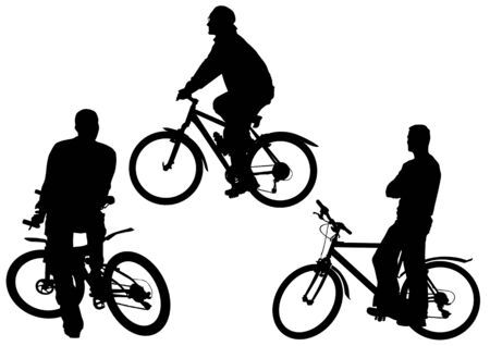 image of men on bicycles. Silhouettes on white background Vector