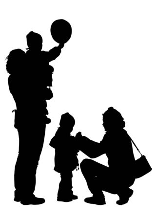 drawing of mother and child. Silhouettes on white background Vector