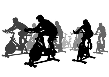 simulators: drawing athletes on simulators. Silhouettes on white background