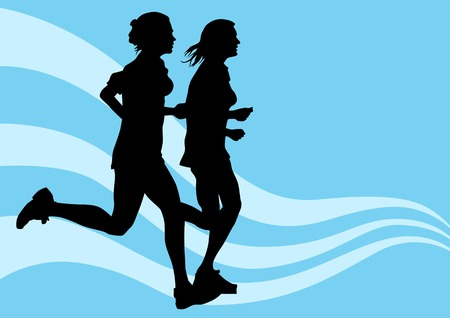 drawing competitions in running. Silhouettes of two girls running Vector
