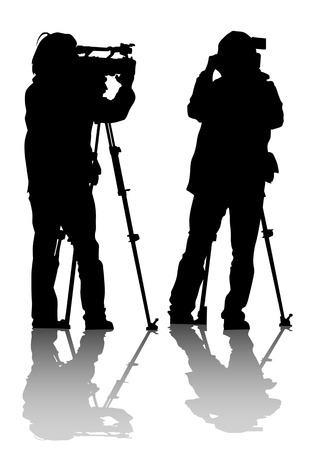 video shooting: drawing of the operator with a video camera. Silhouettes on white background