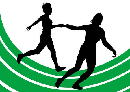 drawing competitions in running. Silhouettes of two girls running Stock Vector - 6358108