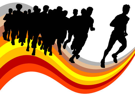 incentives: Vector drawing competitions in running. Silhouettes of crowd running
