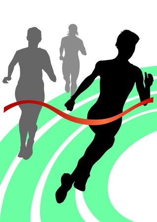Deportes de dibujo vectorial. Siluetas de los corredores de las mujeres