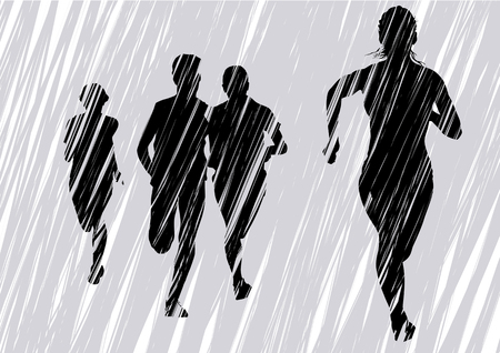 Vector drawing fleeing women. Silhouettes on an gray background Vector