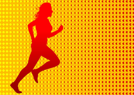 Vector drawing  running women. Silhouettes on an color background Stock Vector - 6386592