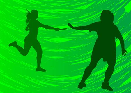 relevos: Dibujo de vector que ejecutan los atletas. Palos de rel� de transferencia