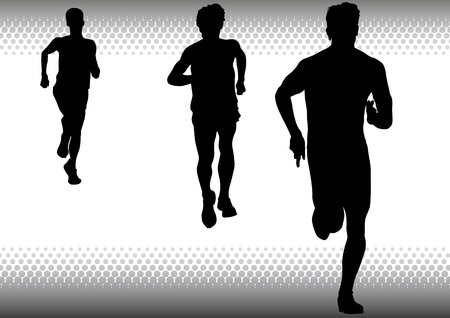 sprinting: Vector drawing competitions in running. Silhouettes of three boys running