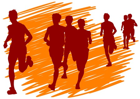 competitive sport: Vector drawing competitions in running. Silhouettes of boys running Illustration